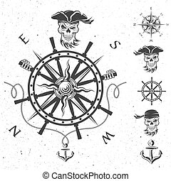 Sea emblem and a set of pirate elements. Vector...