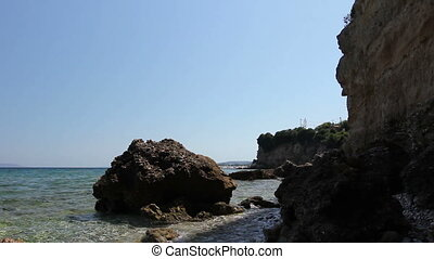 Sea erosion of rugged cliffs on rocky coastline