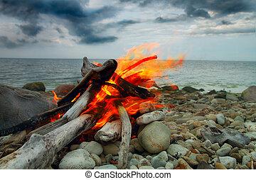 Sea fire. curtains on the coast.