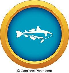 Sea fish icon blue vector isolated