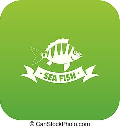 Sea fish icon green vector