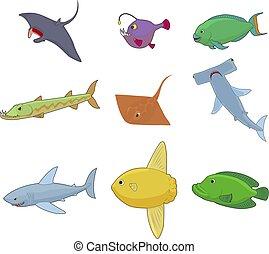 Sea fish icon set, cartoon style
