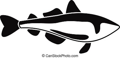 Sea fish icon, simple style