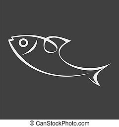 Vector image of sea fish on dark background. Can be used as logo for your company. Symbol, emblem, line art tattoo sketch.