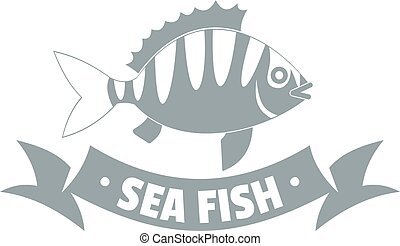 Sea fish logo, simple gray style