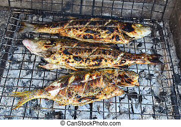 Sea fish on a grill