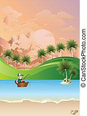 Sea fisherman in boat at dawn