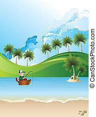 Sea fisherman in boat