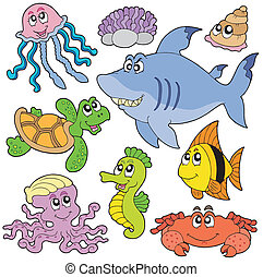Sea fishes and animals collection 2 - vector illustration.