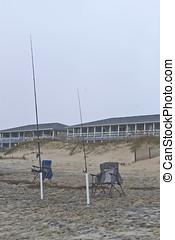 Sea Fishing Equipment on the Beach