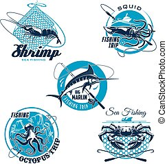 Sea fishing trip and sporting club symbol set