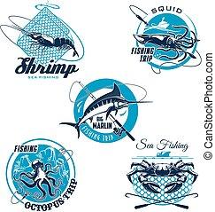Sea fishing trip and sporting club symbol set