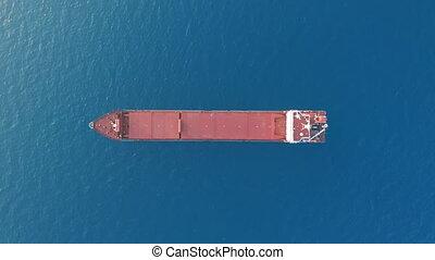sea., flotter, aérien, vue., bateau fret