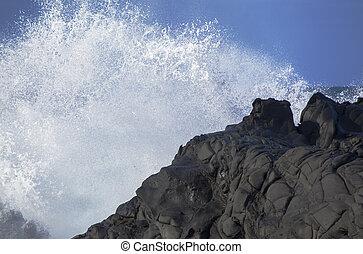 sea foam background - sea foam and black volcanic rock, Gran...