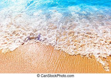 Sea foam on the sand on sunny day
