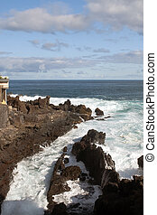 Sea foam among the rocks in vertical