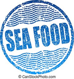 Sea food blue grunge style rubber stamp