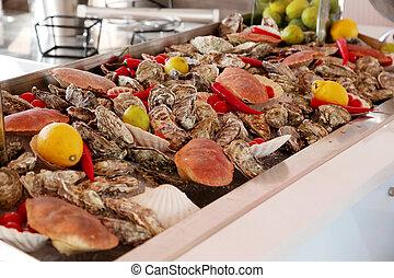 Sea food - Buffet. Various sea food products
