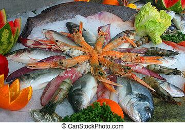 Sea food decoration on the ice