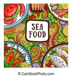 Sea food. Design concept for shop, restaurant.