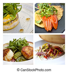 Sea food dishes on a collage
