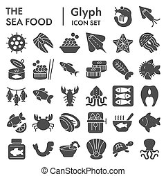 Sea food glyph icon set, ocean symbols collection, vector sketches, logo illustrations, animal signs solid pictograms package isolated on white background, eps 10.