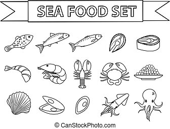 Sea food icons set vector. Modern, line, doodle style. Seafood collection isolated on white background. Fish products illustration, design element.