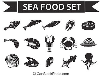 Sea food icons set vector, silhouette, shadow style. Seafood collection isolated on white background. Fish products illustration, design element.