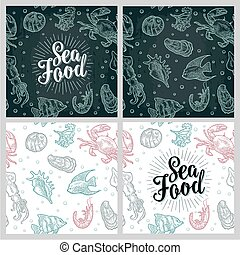 Sea food lettering and seamless pattern shell, crab, shrimp, fish.