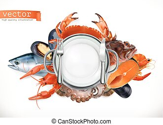 Sea food logo. Fish, crab, crayfish, mussels, octopus 3d...