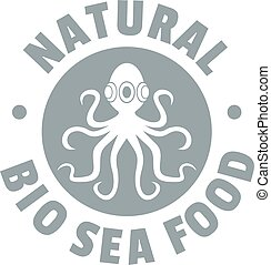 Sea food logo, simple gray style