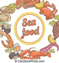 Sea Food Restaurant Menu Design. Fish, Crab and Oysters Hand Drawn vector illustration