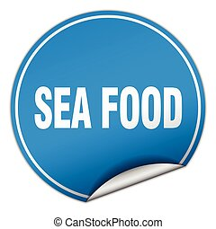 sea food round blue sticker isolated on white