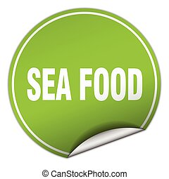 sea food round green sticker isolated on white