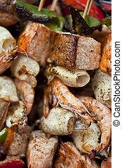 Sea food skewers