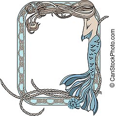 Sea frame with mermaid and knots
