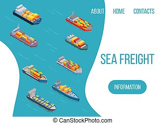 Sea freight logistics vector illustration. Ship, freight, loading with truck, ocean and sea container, delivery truck. Seaport transport logistics. Cargo sea banner.