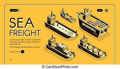 Sea freight transport company vector web banner - Sea...