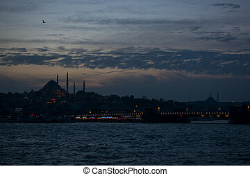 Sea front landscape of Istanbul historical part with clouds