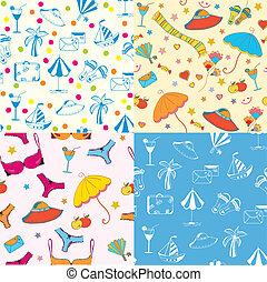 Sea funny seamless patterns set