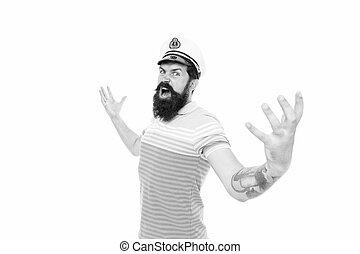 Sea gives me wings. Brutal sailor roar command. Sea captain isolated on white. King of sea. Adventure and discovery. Travelling and travel. Journey and trip. Wild and free just like sea.