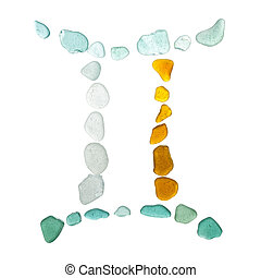sea glass astrological sign, Gemini, on white background