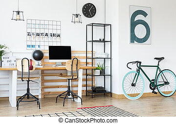 Sea green bicycle in company