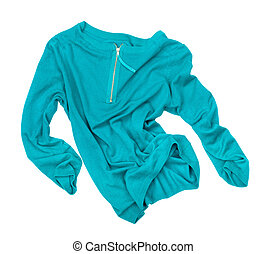 sea-green pullover in motion in the air on an isolated white background
