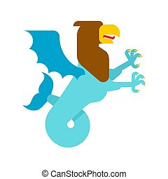 Sea griffin Heraldic animal. Griffin with fishtail....