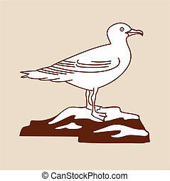 sea gull silhouette on brown background, vector illustration