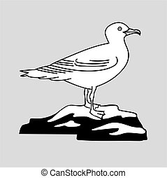 sea gull silhouette on gray background, vector illustration