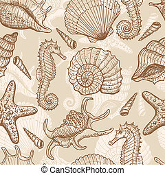 Sea hand drawn seamless pattern - Sea seamless pattern. ...