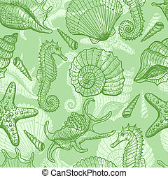 Sea hand drawn seamless pattern