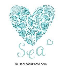 Sea heart. Original hand drawn illustration